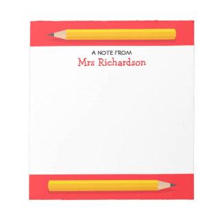 Profesor conocido personalizado lápices amarillos libreta para notas