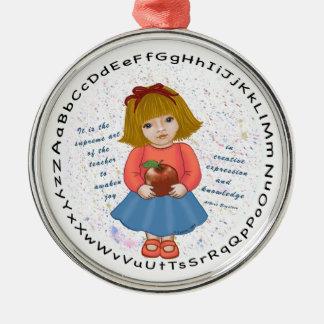 Profesor de Apple del chica Ornaments Para Arbol De Navidad