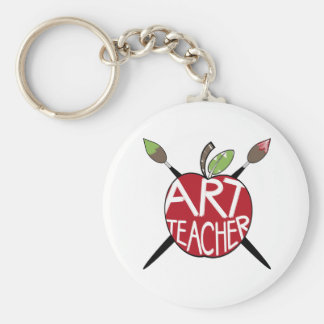 Profesor de arte Apple pintado y brochas Llavero Redondo Tipo Pin