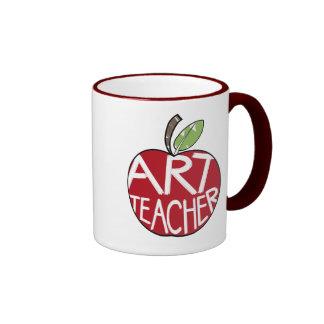 Profesor de arte Apple pintado y brochas Tazas De Café