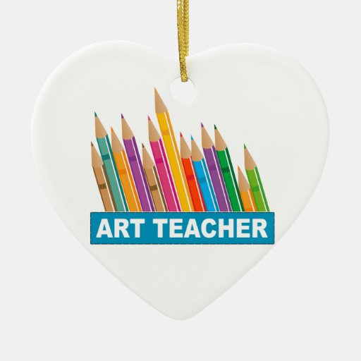 Profesor de arte adorno de cerámica en forma de corazón