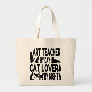 Profesor de arte del amante del gato bolsa tela grande
