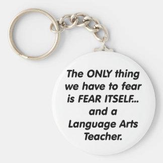 Profesor de artes de lengua del miedo llaveros personalizados