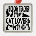 Profesor de biología del amante del gato ornamentos de navidad
