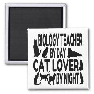 Profesor de biología del amante del gato imán cuadrado