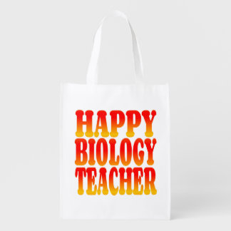 Profesor de biología feliz en colores alegres bolsa de la compra