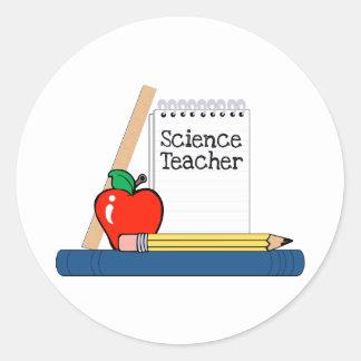 Profesor de ciencias (cuaderno) pegatinas redondas