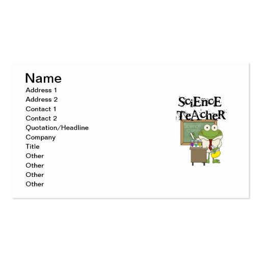 Profesor de ciencias de la rana tarjetas de visita