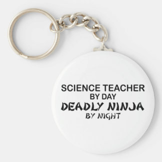 Profesor de ciencias Ninja mortal Llavero Redondo Tipo Pin