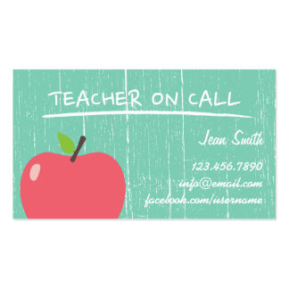 Profesor de escuela Apple grande de madera verde Tarjetas De Visita