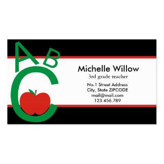 Profesor de escuela de ABC Apple Tarjeta De Visita