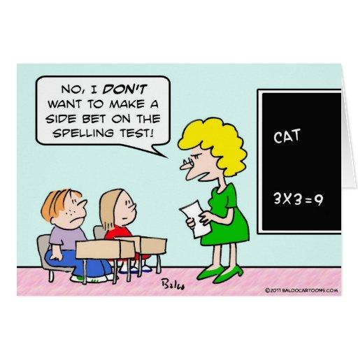 profesor de escuela de la prueba del deletreo de l tarjeta de felicitación