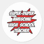 Profesor de escuela impresionante estupendo de etiquetas redondas