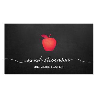 Profesor de escuela rojo de la pizarra de Apple Tarjetas De Visita