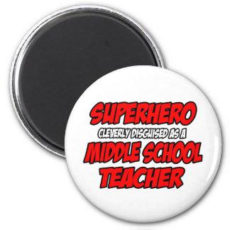 Profesor de escuela secundaria del super héroe… imán redondo 5 cm