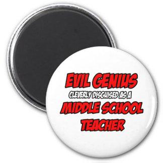 Profesor de escuela secundaria malvado del genio… imán redondo 5 cm