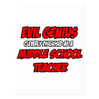 Profesor de escuela secundaria malvado del genio… tarjeta postal