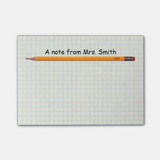 Profesor de escuela simple del lápiz y del papel nota post-it®