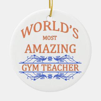 Profesor de gimnasio adorno navideño redondo de cerámica