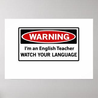 Profesor de inglés amonestador póster