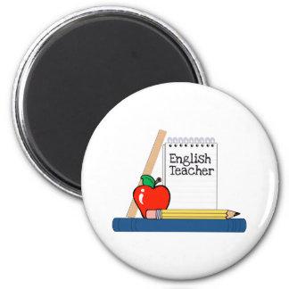 Profesor de inglés (cuaderno) imán redondo 5 cm