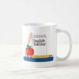 Profesor de inglés (cuaderno) taza básica blanca
