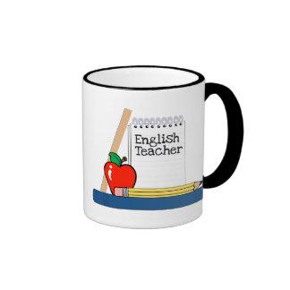 Profesor de inglés (cuaderno) taza a dos colores