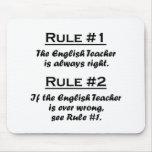 Profesor de inglés de la regla alfombrilla de ratones