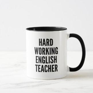 Profesor de inglés de trabajo duro taza
