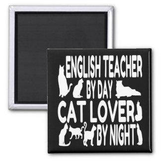 Profesor de inglés del amante del gato imán cuadrado