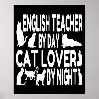 Profesor de inglés del amante del gato póster