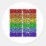 Profesor de inglés del arco iris etiquetas redondas