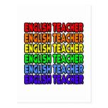 Profesor de inglés del arco iris tarjeta postal
