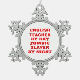 Profesor de inglés del asesino del zombi del día adorno