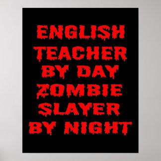 Profesor de inglés del asesino del zombi del día póster