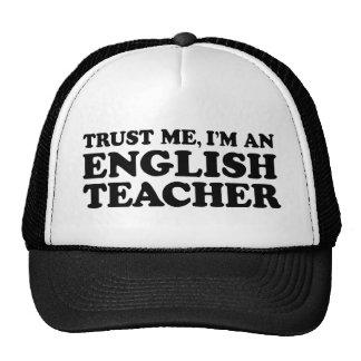 Profesor de inglés gorros bordados