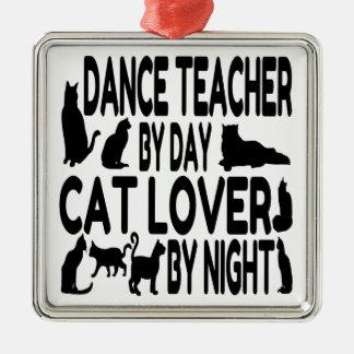 Profesor de la danza del amante del gato adorno cuadrado plateado