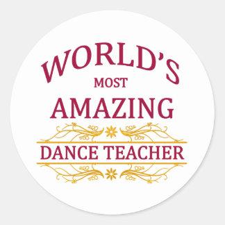 Profesor de la danza pegatina redonda