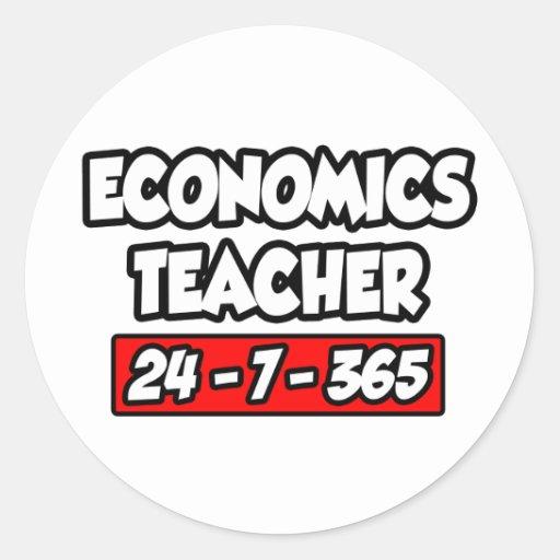 Profesor de la economía 24-7-365 pegatina redonda