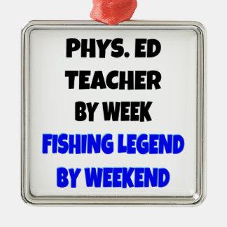 Profesor de la educación física de la leyenda de adorno cuadrado plateado