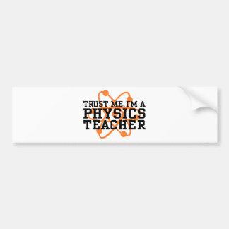 Profesor de la física etiqueta de parachoque