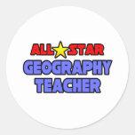 Profesor de la geografía de All Star Pegatina Redonda