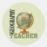 Profesor de la geografía del globo del mundo pegatina redonda