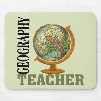 Profesor de la geografía del globo del mundo tapete de ratones