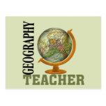 Profesor de la geografía del globo del mundo postales