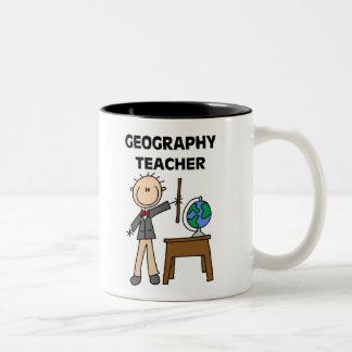 Profesor de la geografía taza de dos tonos