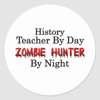 Profesor de la historia/cazador del zombi etiquetas redondas
