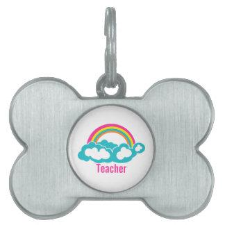 Profesor de la nube del arco iris placas de mascota
