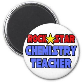 Profesor de la química de la estrella del rock imán redondo 5 cm
