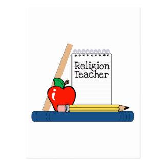 Profesor de la religión cuaderno postales